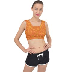 Pop Orange V-back Sports Bra by ArtByAmyMinori