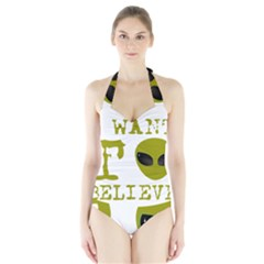 I Want To Believe Halter Swimsuit