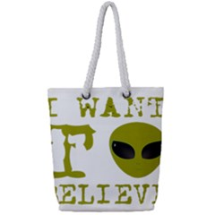 I Want To Believe Full Print Rope Handle Tote (small)