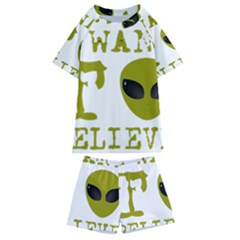 I Want To Believe Kids  Swim Tee And Shorts Set