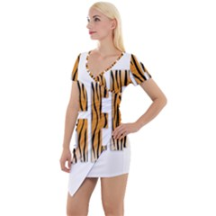 Tiger Bstract Animal Art Pattern Skin Short Sleeve Asymmetric Mini Dress