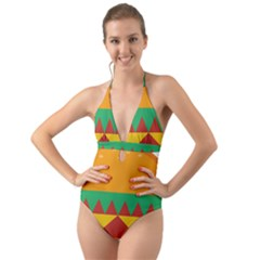 Burger Bread Food Cheese Vegetable Halter Cut Out One Piece Swimsuit