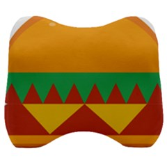 Burger Bread Food Cheese Vegetable Velour Head Support Cushion by Samandel