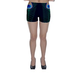 Peacock Feather Skinny Shorts
