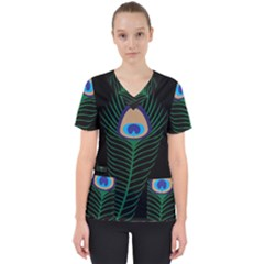 Peacock Feather Women s V Neck Scrub Top