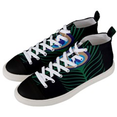 Peacock Feather Men s Mid Top Canvas Sneakers by Samandel