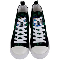 Peacock Feather Women s Mid Top Canvas Sneakers