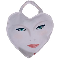 Face Beauty Woman Young Skin Giant Heart Shaped Tote by Samandel