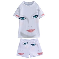Face Beauty Woman Young Skin Kids  Swim Tee And Shorts Set