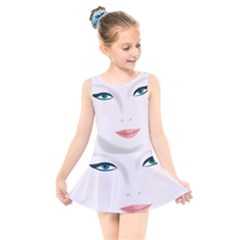 Face Beauty Woman Young Skin Kids  Skater Dress Swimsuit