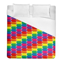 Rainbow 3d Cubes Red Orange Duvet Cover (full/ Double Size) by Samandel