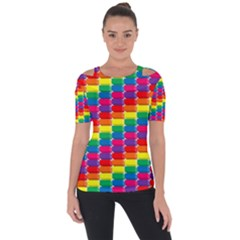 Rainbow 3d Cubes Red Orange Shoulder Cut Out Short Sleeve Top