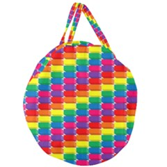 Rainbow 3d Cubes Red Orange Giant Round Zipper Tote