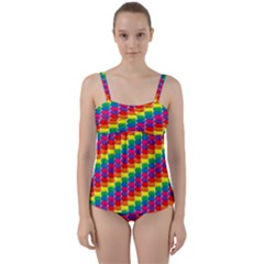Rainbow 3d Cubes Red Orange Twist Front Tankini Set