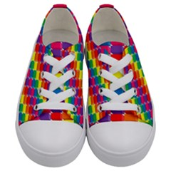 Rainbow 3d Cubes Red Orange Kids  Low Top Canvas Sneakers