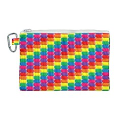 Rainbow 3d Cubes Red Orange Canvas Cosmetic Bag (large) by Samandel