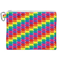 Rainbow 3d Cubes Red Orange Canvas Cosmetic Bag (xxl)