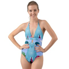Pig Animal Love Halter Cut Out One Piece Swimsuit