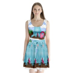 Pig Animal Love Split Back Mini Dress