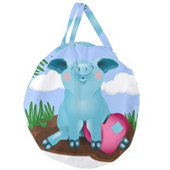 Pig Animal Love Giant Round Zipper Tote