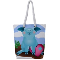 Pig Animal Love Full Print Rope Handle Tote (small)