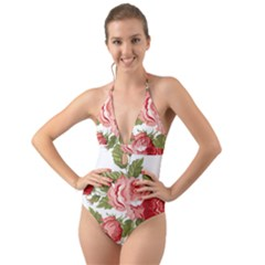 Flower Rose Pink Red Romantic Halter Cut Out One Piece Swimsuit