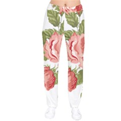 Flower Rose Pink Red Romantic Velvet Drawstring Pants