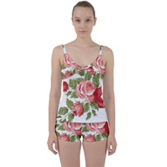 Flower Rose Pink Red Romantic Tie Front Two Piece Tankini