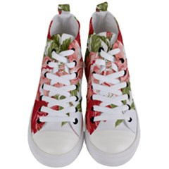 Flower Rose Pink Red Romantic Women s Mid Top Canvas Sneakers
