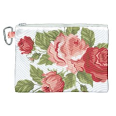 Flower Rose Pink Red Romantic Canvas Cosmetic Bag (xl)