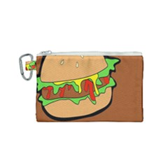 Burger Double Canvas Cosmetic Bag (small) by Samandel