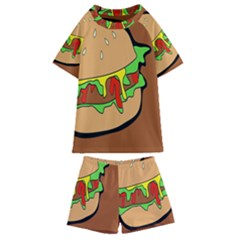 Burger Double Kids  Swim Tee And Shorts Set