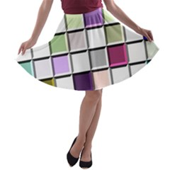 Color Tiles Abstract Mosaic Background A Line Skater Skirt