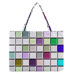 Color Tiles Abstract Mosaic Background Zipper Medium Tote Bag