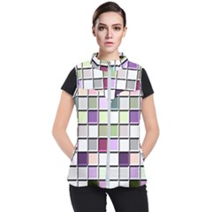 Color Tiles Abstract Mosaic Background Women s Puffer Vest