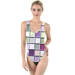 Color Tiles Abstract Mosaic Background High Leg Strappy Swimsuit by Samandel