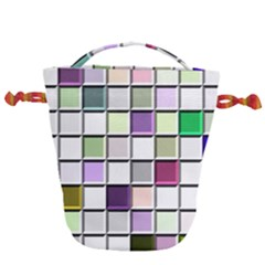 Color Tiles Abstract Mosaic Background Drawstring Bucket Bag
