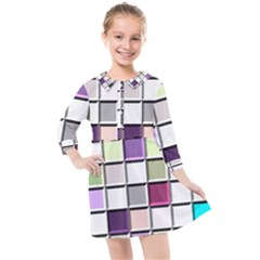 Color Tiles Abstract Mosaic Background Kids  Quarter Sleeve Shirt Dress