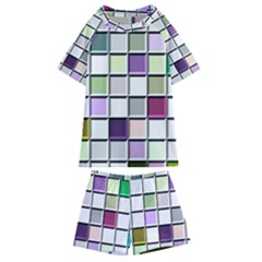 Color Tiles Abstract Mosaic Background Kids  Swim Tee And Shorts Set