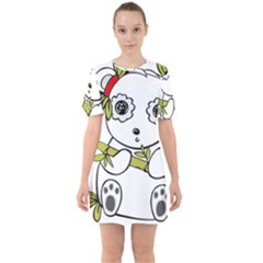 Panda China Chinese Furry Sixties Short Sleeve Mini Dress