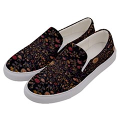 Medieval Flowers On Black Men s Canvas Slip Ons by bloomingvinedesign