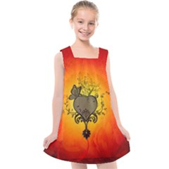 Wonderful Heart With Butterflies And Floral Elements Kids  Cross Back Dress by FantasyWorld7