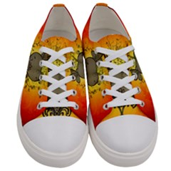 Wonderful Heart With Butterflies And Floral Elements Women s Low Top Canvas Sneakers