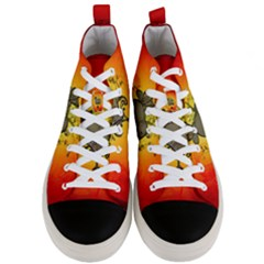 Wonderful Heart With Butterflies And Floral Elements Men s Mid Top Canvas Sneakers