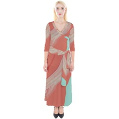 Clay And Water Quarter Sleeve Wrap Maxi Dress