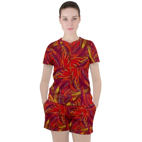 Colorful Abstract Ethnic Style Pattern Women s Tee And Shorts Set by dflcprints