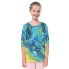 Fire Edge Nebula Kids  Quarter Sleeve Raglan Tee