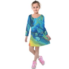 Fire Edge Nebula Kids  Long Sleeve Velvet Dress