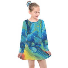 Fire Edge Nebula Kids  Long Sleeve Dress
