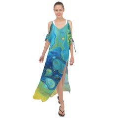 Fire Edge Nebula Maxi Chiffon Cover Up Dress